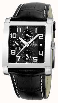 Festina Mens en acier inoxydable cadran noir multiples montre en cuir noir F16235/F