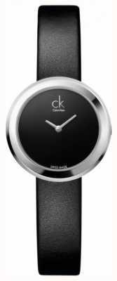 Calvin Klein La société de dames, acier inoxydable, noir montre bracelet en cuir K3N231C1