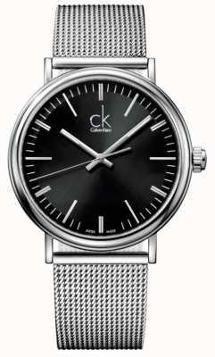 Calvin Klein Mens entourent cadran noir montre bracelet en maille K3W21121