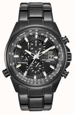 Citizen Mens noir temps du monde acier ion plaqué montre chronographe à AT8025-51E