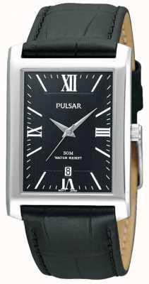 Pulsar Mens en acier inoxydable cadran rectangulaire noir montre en cuir PXDB71X1