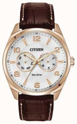 Citizen Mens rose cadran champagne or cuir marron montre bracelet AO9023-01A
