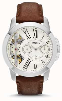 Fossil Hommes accordent cadran blanc en cuir marron montre bracelet ME1144