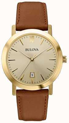 Bulova Montre classique à bracelet en cuir marron pour homme 97B135