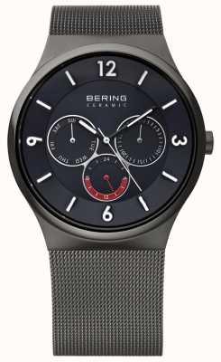 Bering Mens gris acier céramique cadran maille noire montre bracelet 33440-077