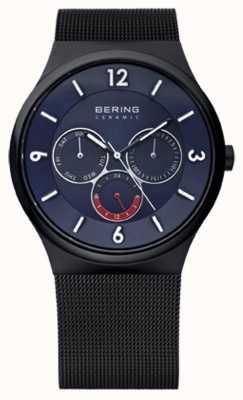 Bering Mens acier ip céramique noire cadran bleu maille montre bracelet 33440-227