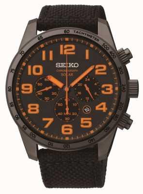 Seiko Mens acier ip toile noire de détail d'orange montre bracelet SSC233P9