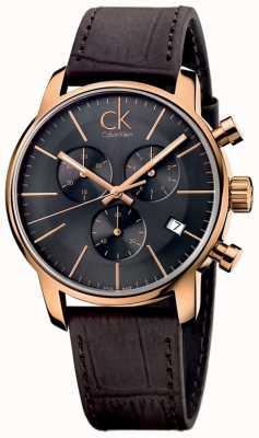 Calvin Klein Mens or rose cadran noir en cuir marron ville chronographe K2G276G3