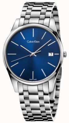 Calvin Klein Montre homme argenté bleu date K4N2114N