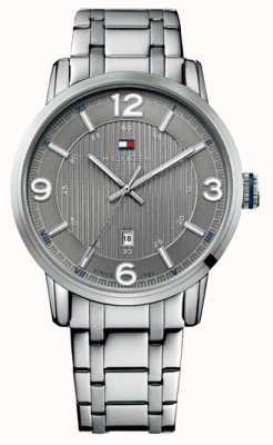 Tommy Hilfiger Mens george bracelet en acier inoxydable gris cadran 1710345