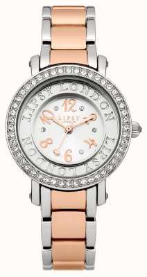 Lipsy Womens deux tons bracelet montre avec ton argent cristal se LP179