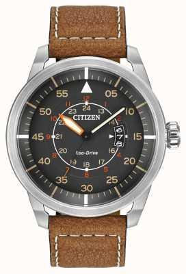 Citizen | avion eco-drive pour homme wr100 | bracelet en cuir marron | AW1361-10H