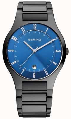 Bering Titane noir homme, cadran bleu 11739-727