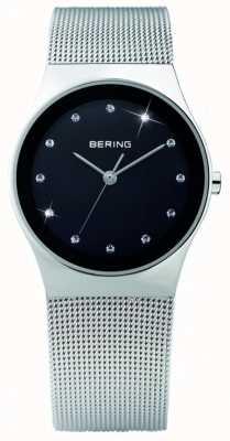 Bering Cristal pour femmes | cadran noir | bracelet en acier inoxydable | 12927-002