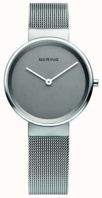 Bering classique Femmes, maille, cadran gris, montre en acier 14531-077