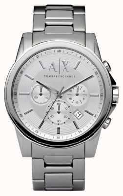 Armani Exchange Mens chronographe en acier d'argent AX2058