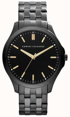 Armani Exchange Mens plated ip smart cadran noir accents d'or AX2144