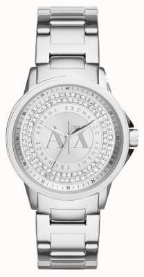 Armani Exchange Womens bracelet en acier inoxydable, serti de cristal urbain AX4320