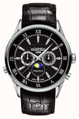 Roamer Hommes phase de lune, cadran noir, montre en cuir noir 508821415305