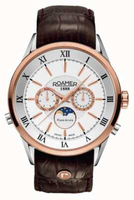 Roamer Hommes phase de lune, or rose / acier, montre en cuir brun 508821491305