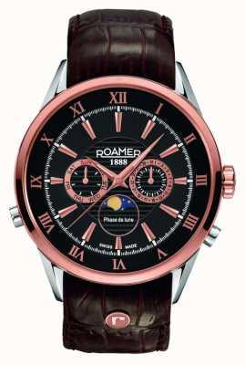 Roamer Hommes phase de lune, or rose, cadran noir montre 508821495305