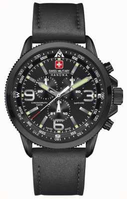 Swiss Military Hanowa Hommes flèche, acier ip noir, chrono en cuir noir 6-4224.13.007