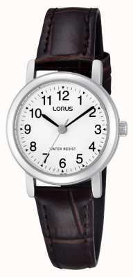 Lorus Womens acier inoxydable montre bracelet en cuir RRS57UX9