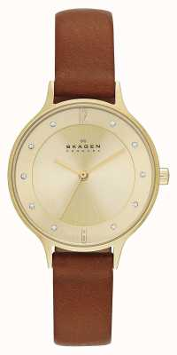 Skagen Mesdames plaqué anita or brun montre bracelet SKW2147