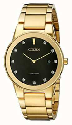 Citizen | axiom mens eco-drive | diamant serti cadran noir | AU1062-56G