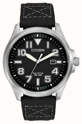 Citizen Mens militaire eco-drive montre bracelet AW1410-08E