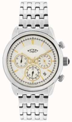 Rotary Gents Argent Argent montre analogique à quartz GB02876/02