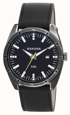 Kahuna Mens cuir noir bracelet de montre KUS-0115G