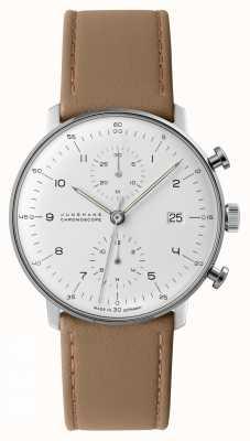 Junghans Chronoscope Max Bill | bracelet en cuir de veau beige | 027/4502.04