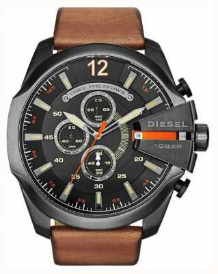 Diesel Mens méga chef noir tan montre chronographe DZ4343