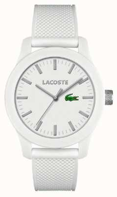 Lacoste Mens 12,12 bracelet en silicone blanc cadran blanc 2010762