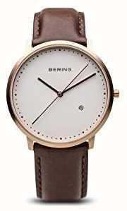 Bering Gents cadran blanc bracelet brun en cuir 11139-564