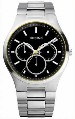 Bering Mens cadran noir, l'accent jaune, cadran multiples 13841-702