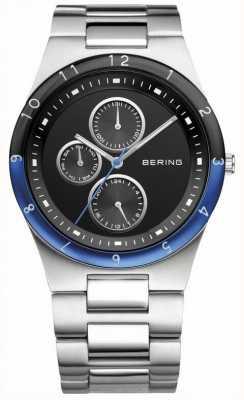 Bering Mens acier, cadran noir, montre accent bleu 32339-702