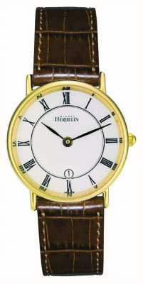 Michel Herbelin Plaqué or dames bracelet en cuir classique 16845/P08GO