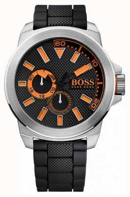 Hugo Boss Orange Acier inoxydable Gents, bracelet en caoutchouc noir 1513011