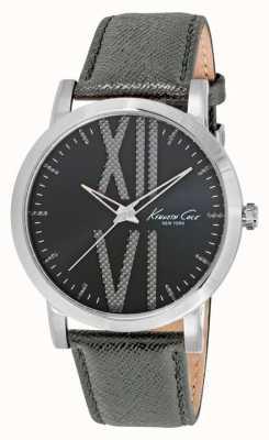 Kenneth Cole Gents cuir gris cadran bracelet en gris KC10014816