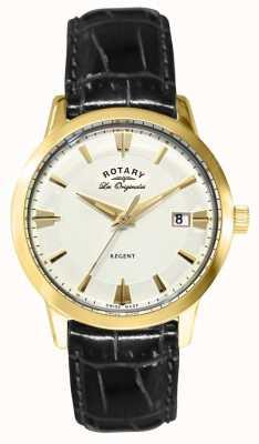 Rotary Gents regent bracelet en cuir noir GS90115/01