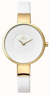 Obaku Womens bracelet en cuir blanc plaque PVD or V149LXGIRW