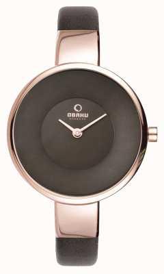 Obaku Womens noir bracelet en cuir pvd or rose V149LXVNRN