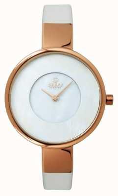 Obaku Mesdames bracelet en cuir blanc PVD or rose V149LXVWRW