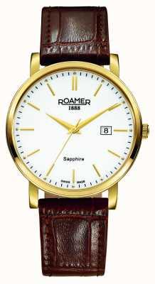 Roamer Ligne classique | bracelet en cuir marron | cadran blanc 709856-48-25-07