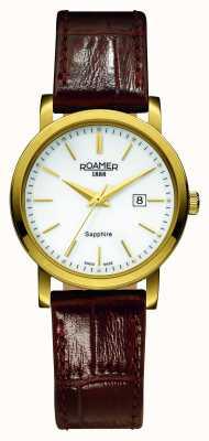 Roamer Ligne classique | bracelet en cuir marron | cadran blanc 709844-48-25-07