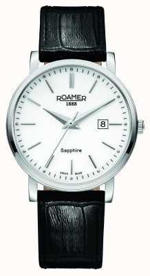 Roamer Gents ligne classique bracelet en cuir noir 709856412507
