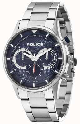 Police conducteur Mens cadran bleu en acier inoxydable 14383JS/03M