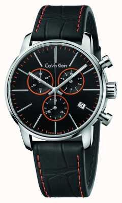 Calvin Klein Gents chronographe ville bracelet en cuir noir K2G271C1
